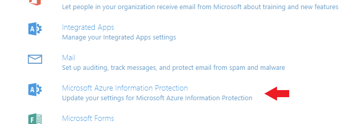 Microsoft Azure Information Protection settings