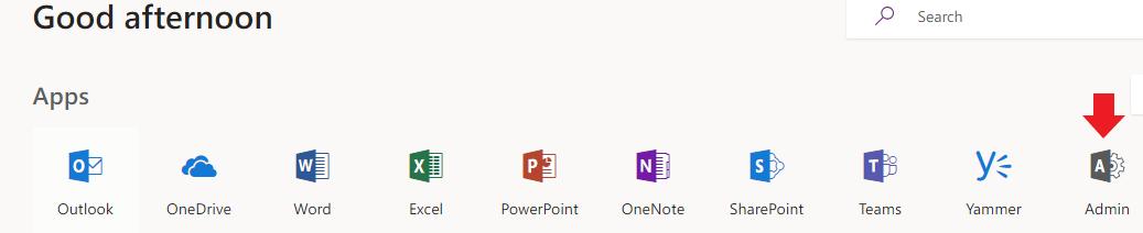 Office 365 admin tile